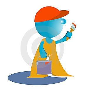 Blueman Painter Worker Royalty Free Stock Photos - Image: 14782818