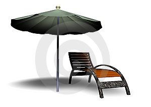 Beach Parasol And Deckchair Stock Photo - Image: 14782910