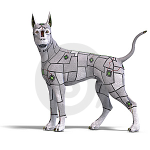Electronical Scifi Dog Of The Future. 3D Stock Photos - Image: 14786673