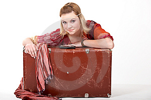 Hippie Girl And Old  Suitcase Stock Photography - Image: 14786922