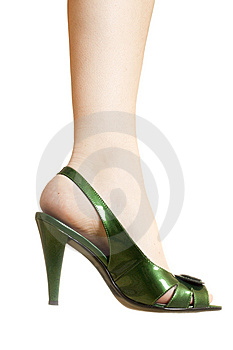 Sexy Green Leather High Heels Stilettos Shoes Royalty Free Stock Photography - Image: 14788227