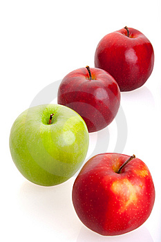 3 Red And 1 Green Apples Stock Photography - Image: 14789612