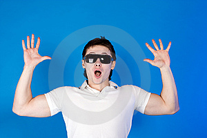 Surprised A Guy With Glasses In The Studio Stock Photo - Image: 14791320
