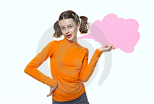 Young Girl Speaking, Holding Bubbles Chat Royalty Free Stock Photo - Image: 14791915