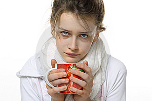 Ill Girl With Cup Royalty Free Stock Images - Image: 14792189