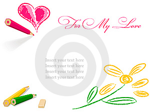 Pencil Draw Heart And Flower Royalty Free Stock Image - Image: 14792726