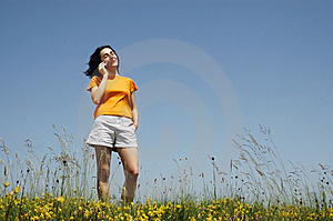 Happy Woman Enjoying The Outdoors Using Her Cell P Stock Photos - Image: 14792873
