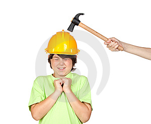 Frightened Child With Yellow Helmet Stock Images - Image: 14798564