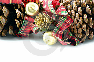 Pine Cones And Ribbons Stock Images - Image: 1487444