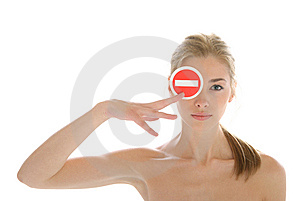 Beautiful Young Woman Holds Prohibiting Sign Stock Image - Image: 14800911