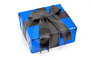 Gift Box With Black Bow Stock Image - Image: 14801391