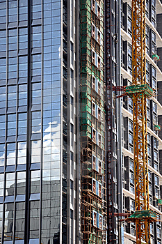 External Wall In Construction Of Modern Building Stock Image - Image: 14801561