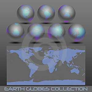 Earth Globes, Black-blue Stock Photo - Image: 14801800