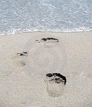 Footprints At Beach Royalty Free Stock Photo - Image: 14803405
