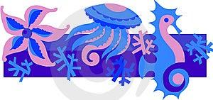 Illustration Of Sea Life Reef Royalty Free Stock Image - Image: 14805496
