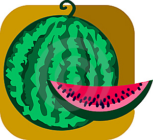 Sweet Watermelon And Slice On Brown Background Stock Photography - Image: 14805502