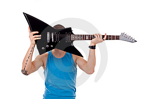 Player Holding His Guitar Over Face Stock Photos - Image: 14808793