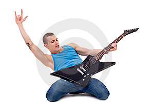Playing Guitar On Knees Stock Images - Image: 14808794
