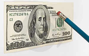 Erasing Hundred Dollar Stock Photo - Image: 14810700