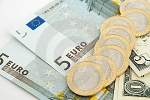 Euros And Dollars Stock Image - Image: 14832291