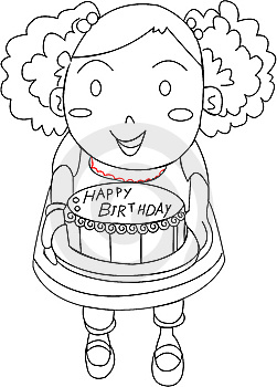 A Girl With A Birthday Cake Royalty Free Stock Photography - Image: 14832427