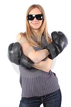 Pretty Lady Smiling With Boxing Gloves Royalty Free Stock Images - Image: 14835229