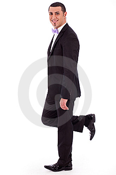 Full Length Of A Business Man Leaning Stock Photo - Image: 14835730