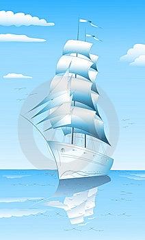 Sailing Ship In Sea Stock Photos - Image: 14836453