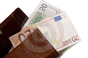 Fifty Dollar And Euro Banknotes Stock Image - Image: 14837171