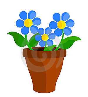 Blue Flowers In Pot Royalty Free Stock Images - Image: 14840279