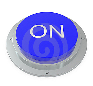 Blue Button Isolated On White Royalty Free Stock Photo - Image: 14842435