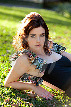 Young Woman Lying In The Park Stock Image - Image: 14843191
