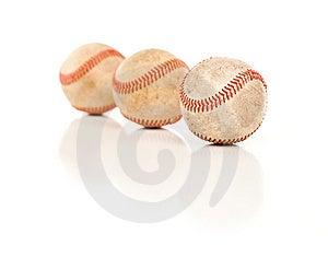 Three Baseballs Isolated On Reflective White Royalty Free Stock Images - Image: 14844799