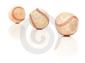 Three Baseballs Isolated On Reflective White Royalty Free Stock Image - Image: 14844806