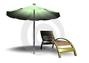 Beach Parasol And Deckchair Stock Images - Image: 14849314