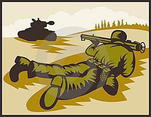Soldier Bazooka Battle Tank Stock Image - Image: 14849591