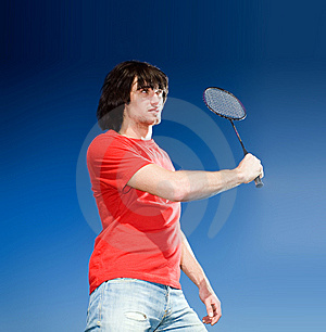 Boy With Racket On Blue Background Royalty Free Stock Photography - Image: 14850517