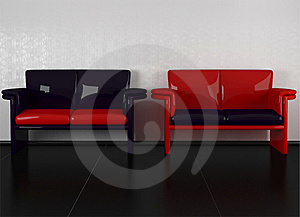 Two Modern Violet And Red Sofas Stock Photo - Image: 14850620
