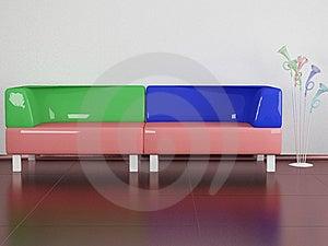 Multicolored Sofa Indoors Royalty Free Stock Photo - Image: 14850725
