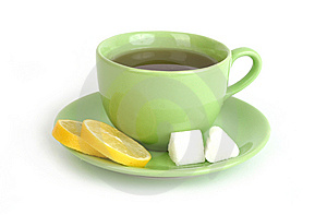 Cup Of Tea With Lemons And Lumps Of Sugar Royalty Free Stock Photography - Image: 14851237