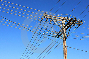 Old Wooden Electric Pole With Cables Stock Image - Image: 14852881