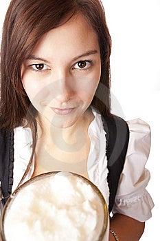 Bavarian Woman Holds Oktoberfest Beer Stein Royalty Free Stock Image - Image: 14853626