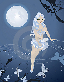 Lunar Fairy In Night Sky With Butterflies Stock Image - Image: 14854031