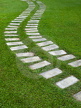 Curve Way On Grass Royalty Free Stock Photography - Image: 14854557