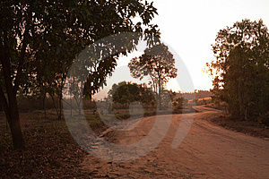 Dirt Curvy Road Heading To Unseen Thailand Stock Photo - Image: 14855130