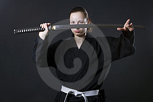Female Samurai Holding Katana Stock Photography - Image: 14856142