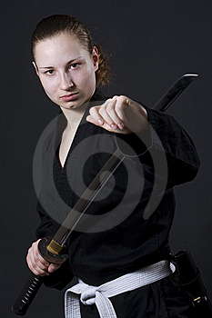 Female Samurai Holding Katana Stock Images - Image: 14856174