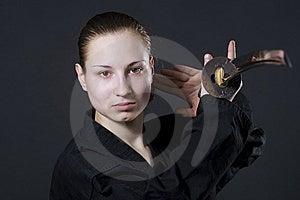 Female Samurai Holding Katana Royalty Free Stock Photos - Image: 14856178