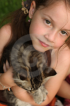 Girl With Her Kitty Stock Image - Image: 14858091