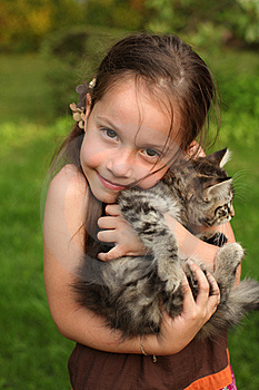 Girl With Her Kitty Stock Images - Image: 14858104